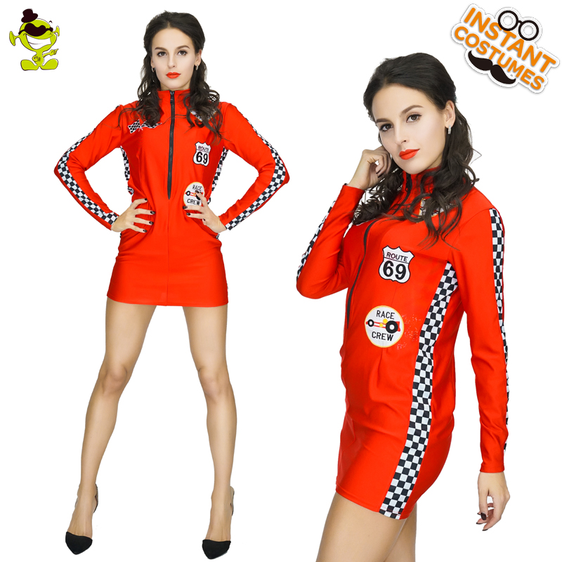 Women's Sexy Red Racing Driver Costume Adult Women Carnival Party Cool Racing Girl Decoration Fancy Dress Female Glamouros Racer
