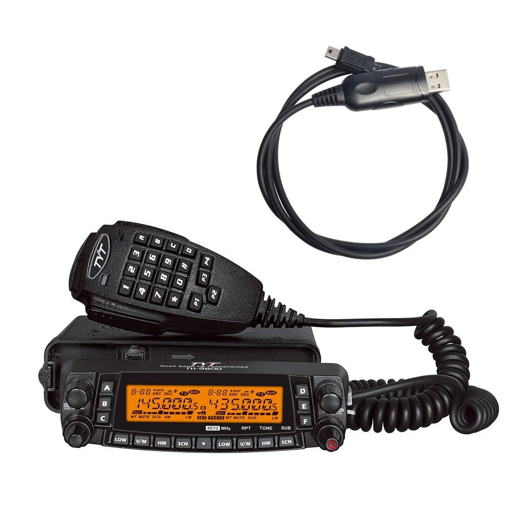 imágenes para TH9800 50 km de Larga Distancia Walkie Talkie de Cuatro Bandas de Doble Pantalla Coche Estación de Radio de Jamón Transceptor TH-9800 Automotriz + Cable