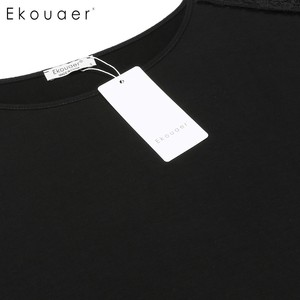 Image 5 - Ekouaer Lace Patchwork Nightgown Women Fashion O Neck Cap Short Sleeve Sleepwear Sexy Hollow Out Home Dress Casual Nightdress