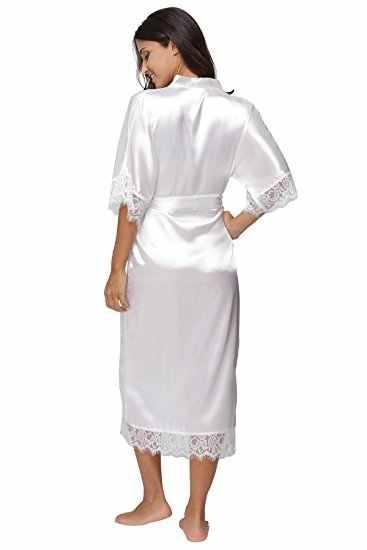 夏のレースのパッチワークサテン着物ローブセクシーなパジャマランジェリーシュミズ女性のシルクロングネグリジェ結婚式のウエディングローブ