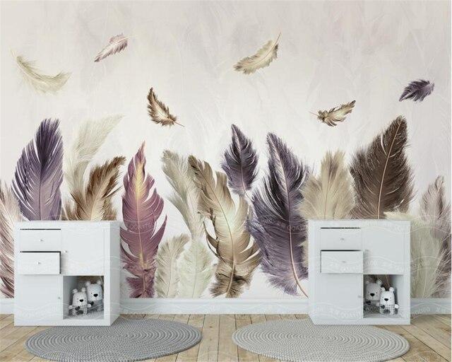 Veren In Huis : Beibehang aangepaste behang moderne eenvoudige gold veren