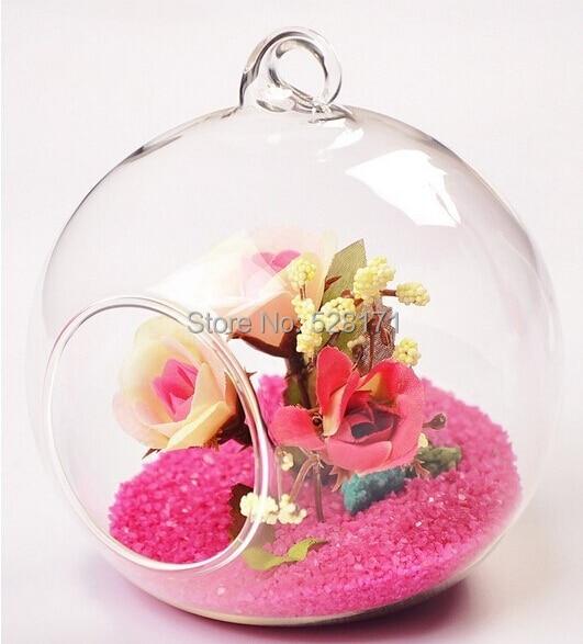 envo gratis 2 unidslote alta calidad soplado hecho a mano colgante redondo claro florero de vidrio de cristal de fondo plano j