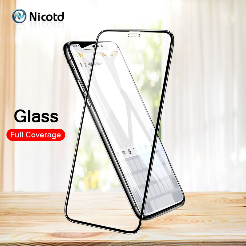 Nicotd Full Cover Glass For iPhone X 8 7 6s Screen Protector For Apple iPhone 6 7 8 plus Tempered Glass Protection 4D/5D/6D film