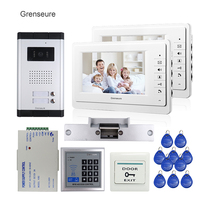FREE SHIPPING 7 Video Intercom Door Phone System 2 White Monitor 1 Doorbell Camera For 2