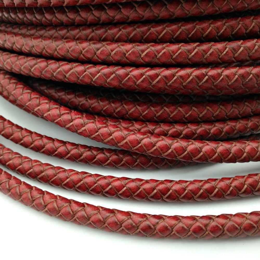 3mm Genuine Black and Red Mixed Braided Leather Bolo Cord Bracelet Necklace Leather Crafts BP3M80