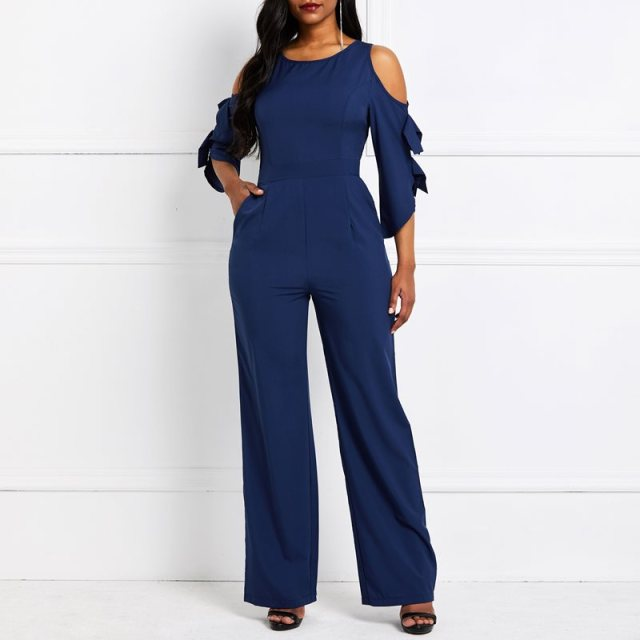 Office Jumpsuit Women Sexy Off Shoulder Plus Size Elegant Wide Leg Pants African Fashion Long Jumpsuits Pocket Summer Overalls