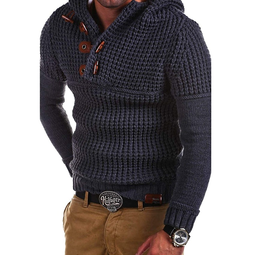 Winter Men's New High Collar Solid Color Mens Sweaters Fashion Brand High Street Casual Long Sleeve High Quality Men Sweaters