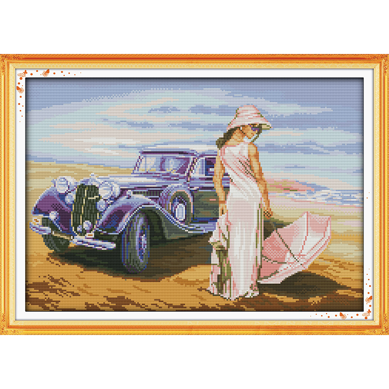 Everlasting love Christmas Car model Ecological cotton Chinese cross stitch kits counted stamped product 14 CT sales promotion