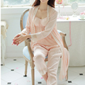 Princesa Sleepwear Cetim De Seda Longa Túnica das mulheres senhoras Camisola de Três Peças Conjunto feminina Outono & Winte Longo Pijamas sleepwear