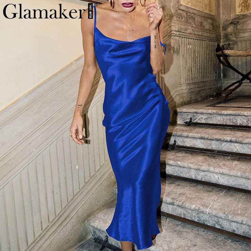 Glamaker Backless Dress ... Glamaker Glod satin lace up sexy dress Women backless fashion silk long  party dress Elegant club ...