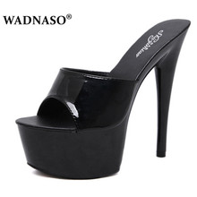 WADNASO Woman Wedding Shoes Sandals 2019 Nightclub Sexy High heeled 15CM Shoes Slippers Fine With Waterproof Sandal Summer Pumps