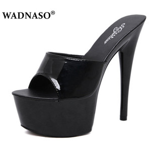 Image 1 - WADNASO Woman Wedding Shoes Sandals 2019 Nightclub Sexy High heeled 15CM Shoes Slippers Fine With Waterproof Sandal Summer Pumps