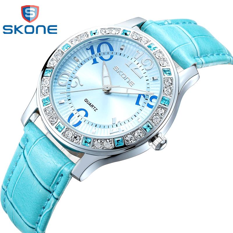 SKONE Rhinestone Watch Woman Fashion Designer Leather Strap Quartz-watch Ladies Luxury Brand Women Watches Lady Reloj Mujer nary watch women fashion luxury watch reloj mujer stainless steel quality diamond ladies quartz watch women rhinestone watches