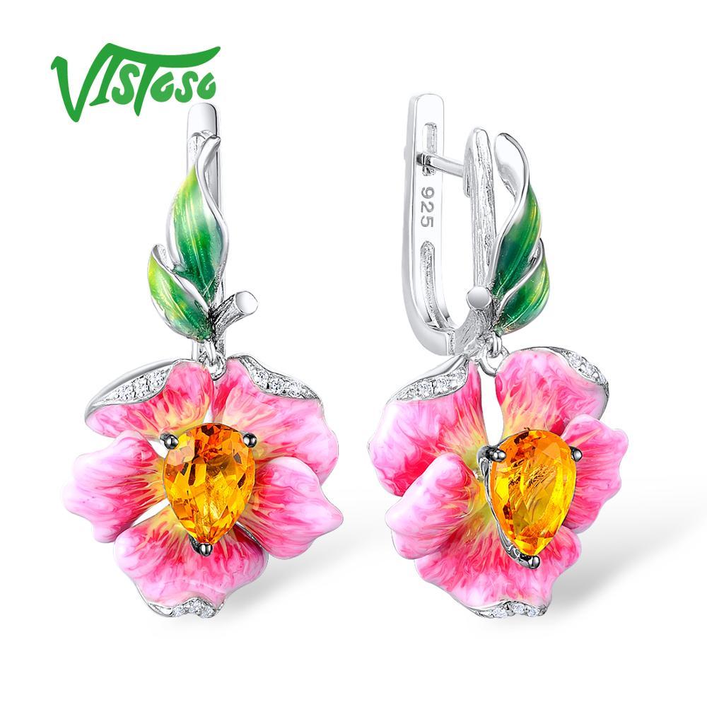 VISTOSO Silver Drop Earrings Flower Earrings Yellow Crystal White Cubic Zirconia Stones 925 Sterling Silver Fine