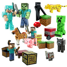 1 piece Original Minecraft action figure Diamond armor Steve Alex Pig Zombie Cat Cow Ocelot Enderman Witch toy Second-Hand(China)