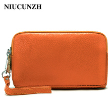 NIUCUNZH Wallet Women Double Zipper Coin Purse Genuine Leather Small Money Clutch Bags Ladies Day For phone Female