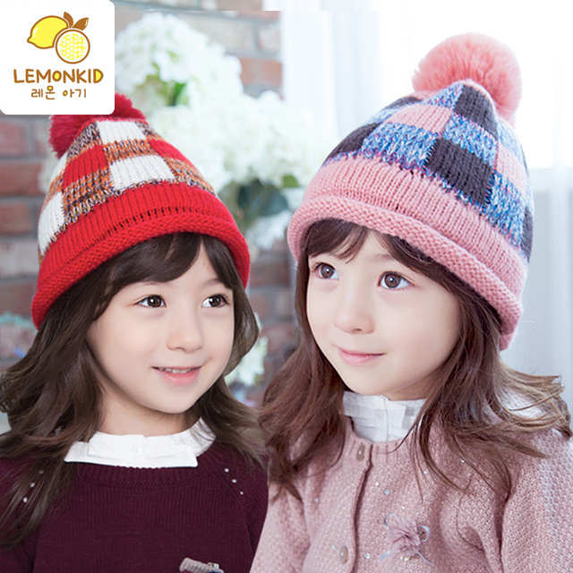 baby girl winter hat with ball kids winter beanie hats warm cutton caps  earflaps jacquard weave hat children hats Free shipping 5cbf6abb67e