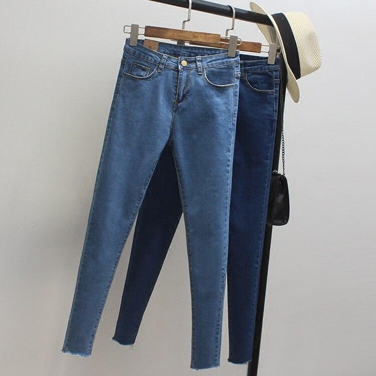 2017 Women Vintage Skinny Jeans Spring Autumn Fashion Pencil Pants Denim Strech Blue Black High Waist Plus Size Jeans Z730