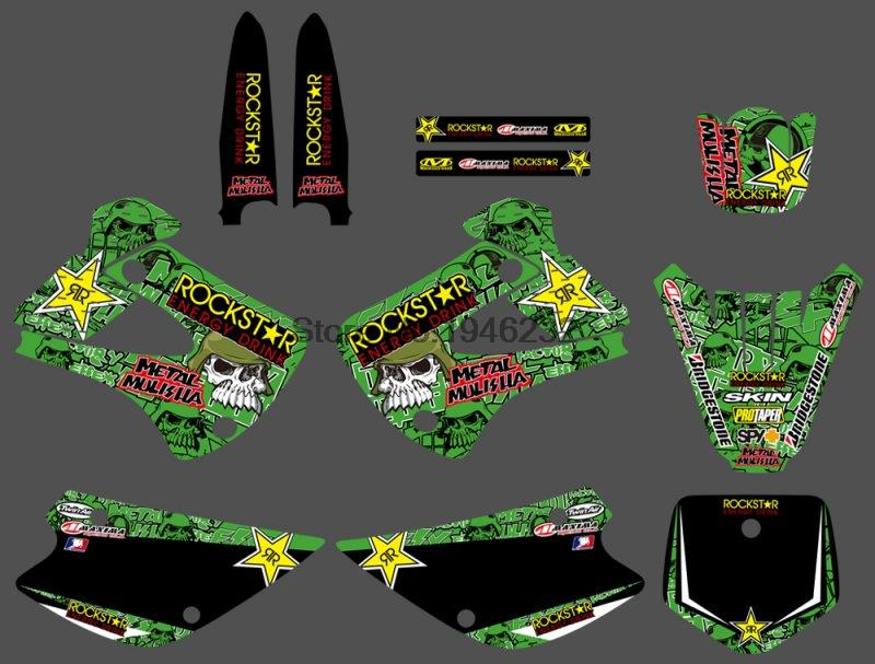 Motorcycle TEAM GRAPHICS & BACKGROUND DECALS STICKERS Kits for Kawasaki KX85 KX100 KX 85 100 2001- 2013 Motocross Dirt Bike motorcycle brake lever and hand grip dirt bike pivot brake clutch levers for kawasaki kx65 kx80 kx85 kx100 kx 80 85 2001 2016