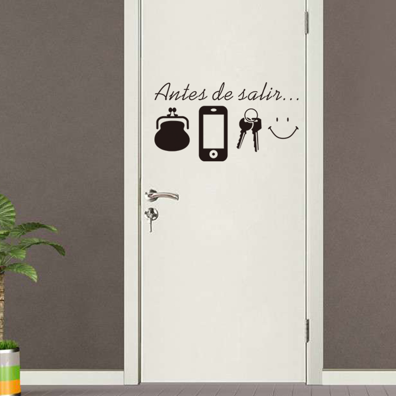 Spanish vinyl Quotes wall stickers home living room Door wall decoration  sticker Decals for Daily Before Leaving reminder Mural-in Wall Stickers  from Home ...