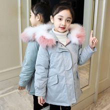 Girls Cotton-padded Outerwear Coats 2018 Winter Children Warm Clothes Girls Hooded Faux Fur Collar Jacket 4 6 8 10 12 13 Years 40 degrees girls white duck down outerwear coats 2018 winter children warm clothes fashion real fur collar jacket 5 14 years