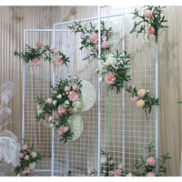 Wedding party stage road decorative flower backdrop stand wrought iron arch Rectangular screen Beveled grid screen decoration