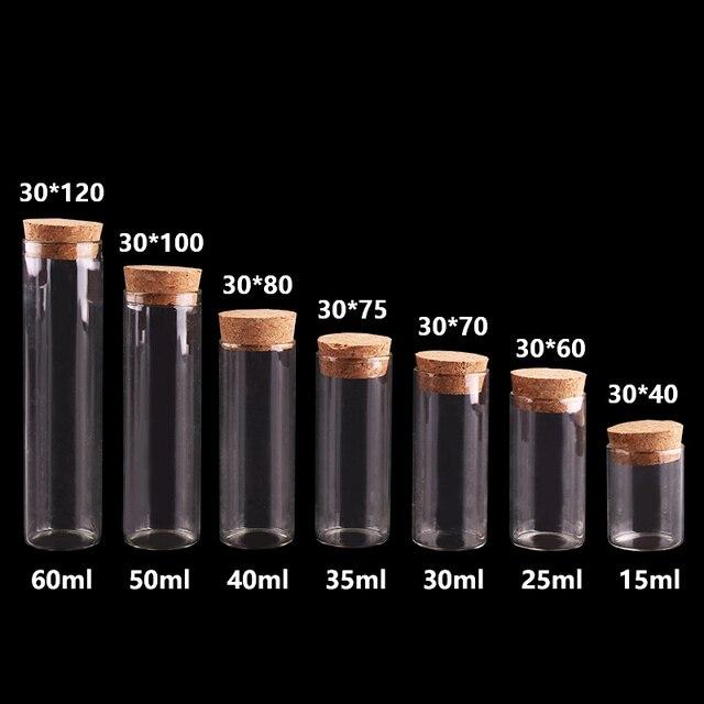 15ml/25ml/30ml/35ml/40ml/50ml/60ml pequeno tubo de teste com rolha de rolha garrafas frascos diy artesanato 24 peças