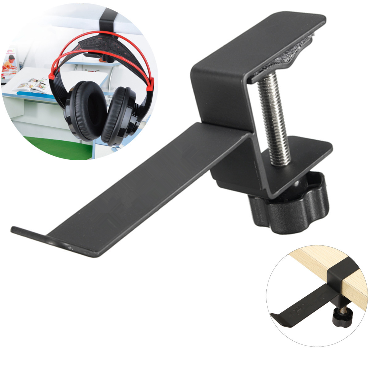 Steel Universal Headphone Destop Mount Holder Hanger Hook Headset Shelf Rack Earphones Stand Gaming Studio DJ With Screws
