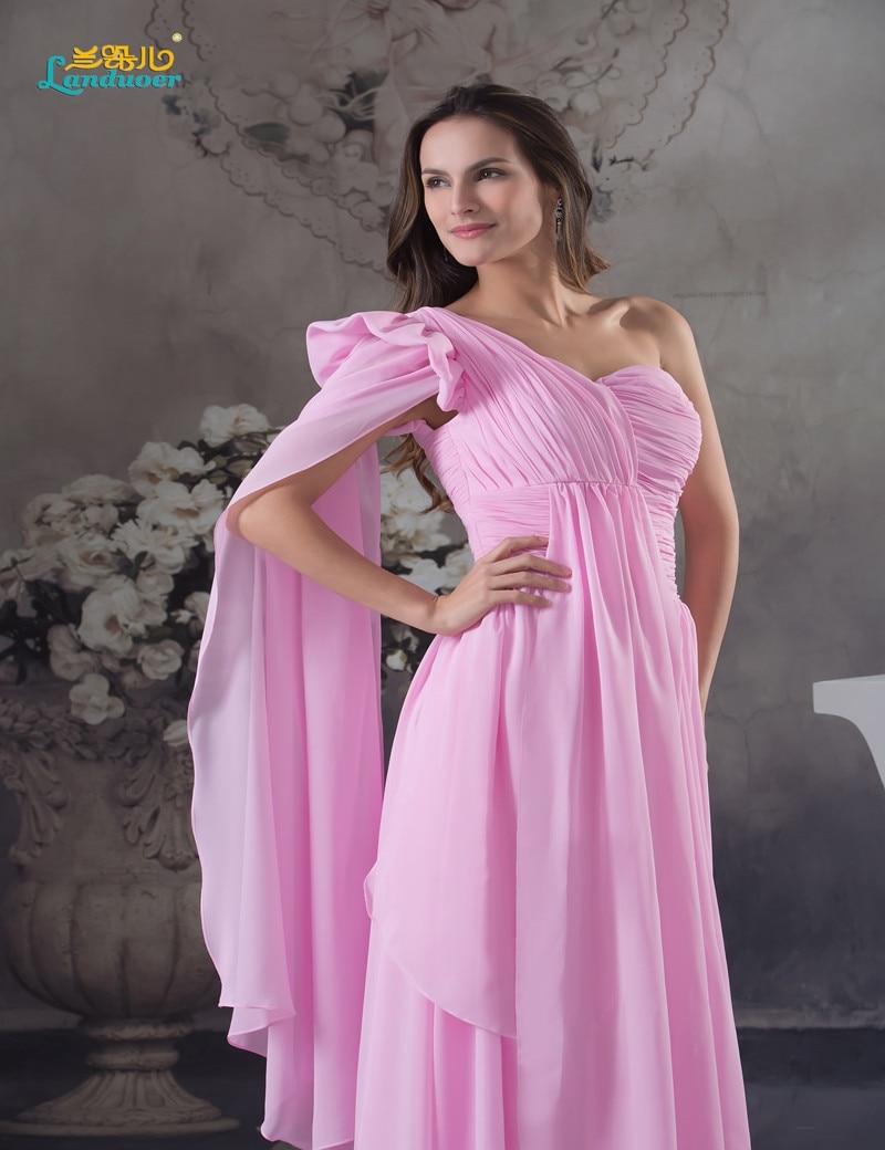 Encantador Largas De La Gasa Vestidos De Dama Un Hombro Cresta ...