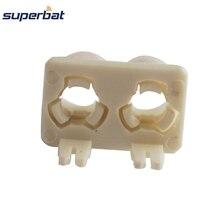 Superbat 10 pces fakra b duplo escudo plástico branco plugue rf conector coaxial pcb montado rádio do carro intoface smb