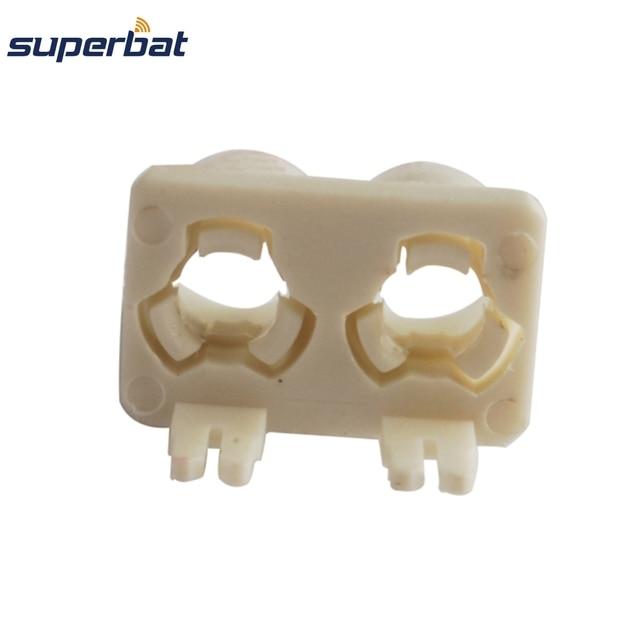 Superbat 10pcs Fakra B Double Plastic Shell White Plug RF Coaxial Connector PCB Mounted Car Radio Intoface SMB