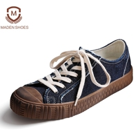 Maden 2018 Spring Vintage Men S Vulcanized Shoes Old Retro Canvas Flats High Quality Bur Design