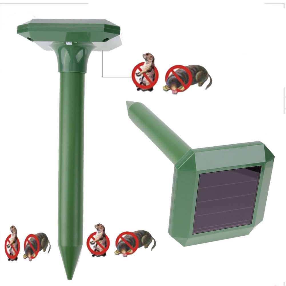 new 2pcs Solar Power Ultrasonic Gopher Mole Snake Mouse Pest Repeller Control Garden Yard