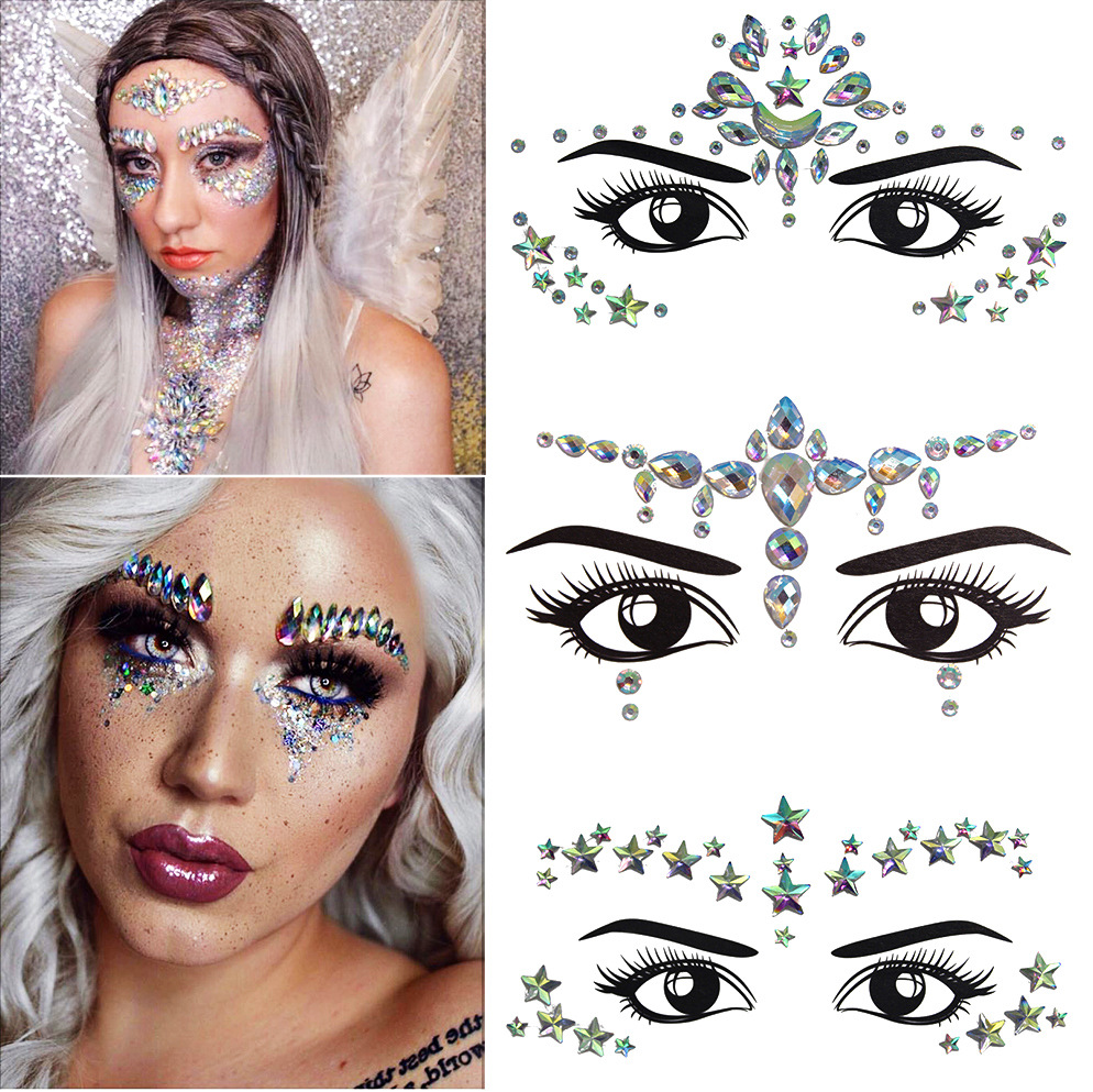 Women Temporary Rhinestone Glitter Tattoo Stickers Face Jewels Nightclub Party Makeup Flash Beauty Makeup Tools Body Jewels