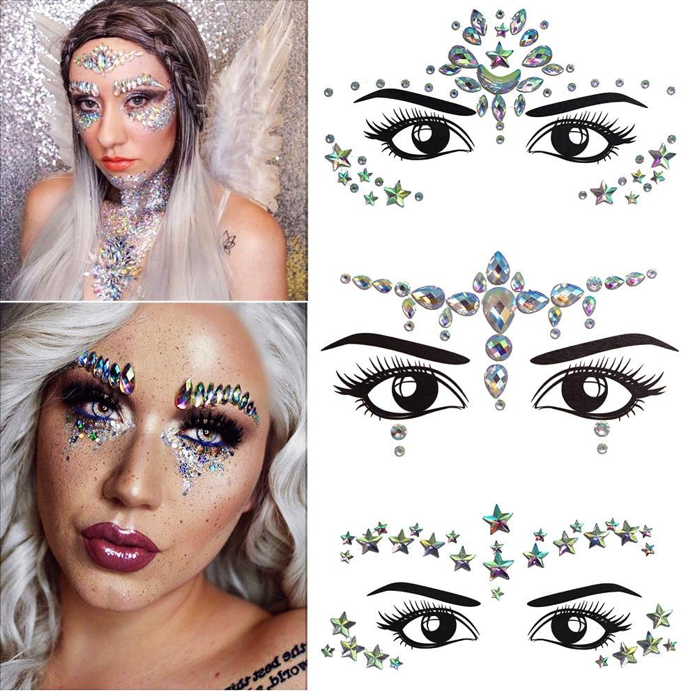 Women Temporary Rhinestone Glitter Tattoo Stickers Face Jewels Nightclub Party Makeup Flash Beauty Makeup Tools Body Jewels