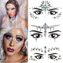 women Temporary Rhinestone Glitter Tattoo Stickers Face Jewels nightclub Party Makeup Flash Beauty Tools Body