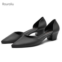 Rouroliu Women Solid Color Jelly Shoes Summer Non-Slip Pointed Toe Mid Heel Sandals Woman Shallow Casual Shoes FR99