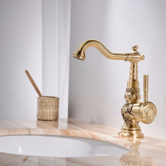 US $74.0  Retro Style Antique Brass Kitchen Faucet Cold and Hot Water Mixer  Single Handle 360 Degree Rotation New Arrival Tap TL063-in Kitchen Faucets  ...