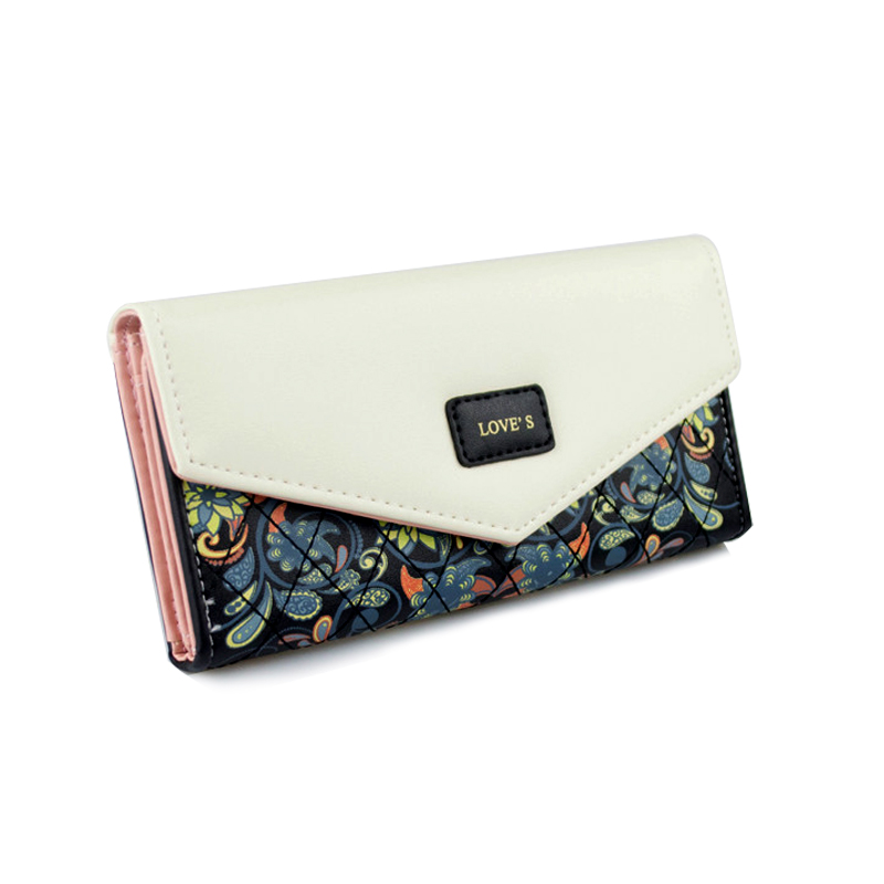 Fashion Envelope Bags Leather Ladies Day Clutch Bags for Women Long Flower Printing Womens Wallet Money Female Purse Card Bag