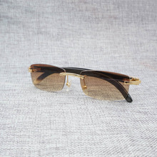 Vintage Small Lens Wood Sunglasses Men Natural Buffalo Horn Square Gafas Rimless Eyewear Oculos Wooden Shades for Outdoor 012S