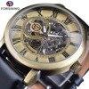 Forsining Men S Mechanical Watches Classic Fashion Skeleton Steampunk Wristwatch Genuine Leather Belt Luminous Hands Male