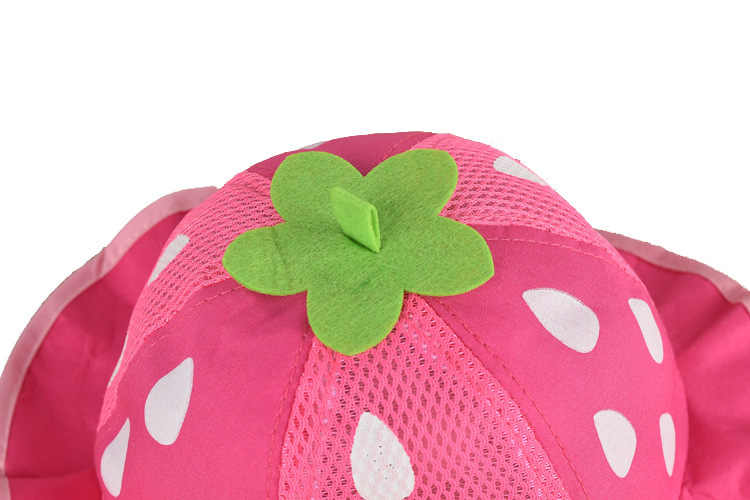 ... Girls Hat Fashion Bucket Hats Cute Mesh Sun Cap Dot Infant Caps  Strawberry Toddler Beanies Summer 731895add094