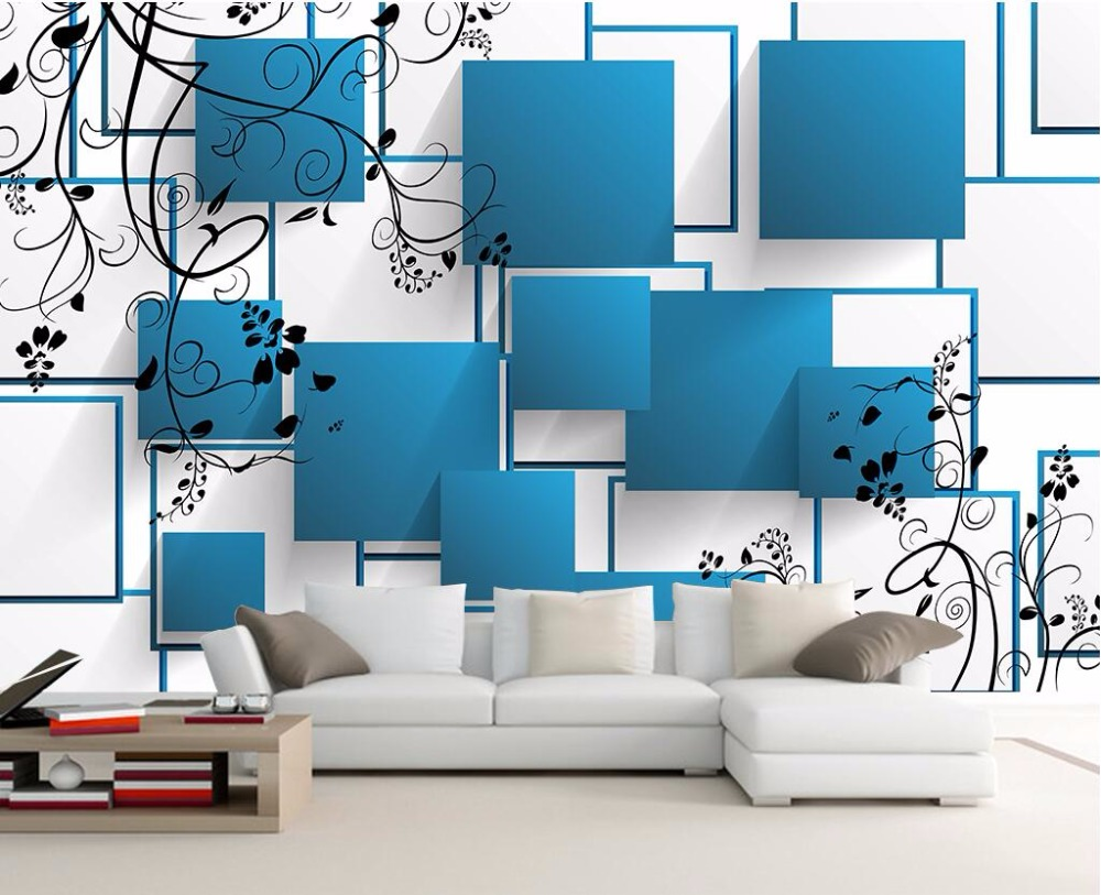 Beibehang Home decoration wallpaper mural 3D blue box simple TV background living room bedroom interior mural photo 3d wallpaper interior design