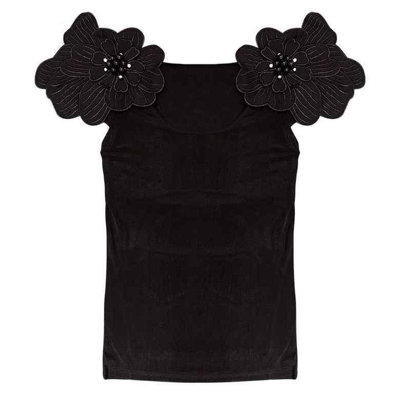 2019 夏の女性の半袖黒 Tシャツ女性 3D 花の Tシャツ女性の花刺繍 Tシャツ女性半袖花トップス