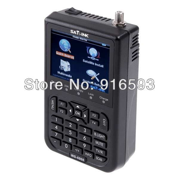 Free shipping!! Original Satlink WS-6908 3.5 LCD DVB-S FTA Digital Satellite Signal Satellite Finder Meter Supports QPSK brand new professional digital lux meter digital light meter lx1010b 100000 lux original retail package free shipping