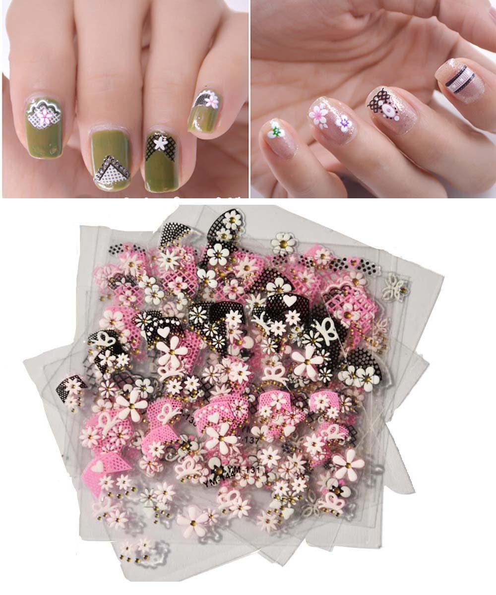 #NTL-B(02) hot-sell 30pcs Nail Stickers Flowers Lace Sticker/30pcs Art 3D Black For UV Gel Polish