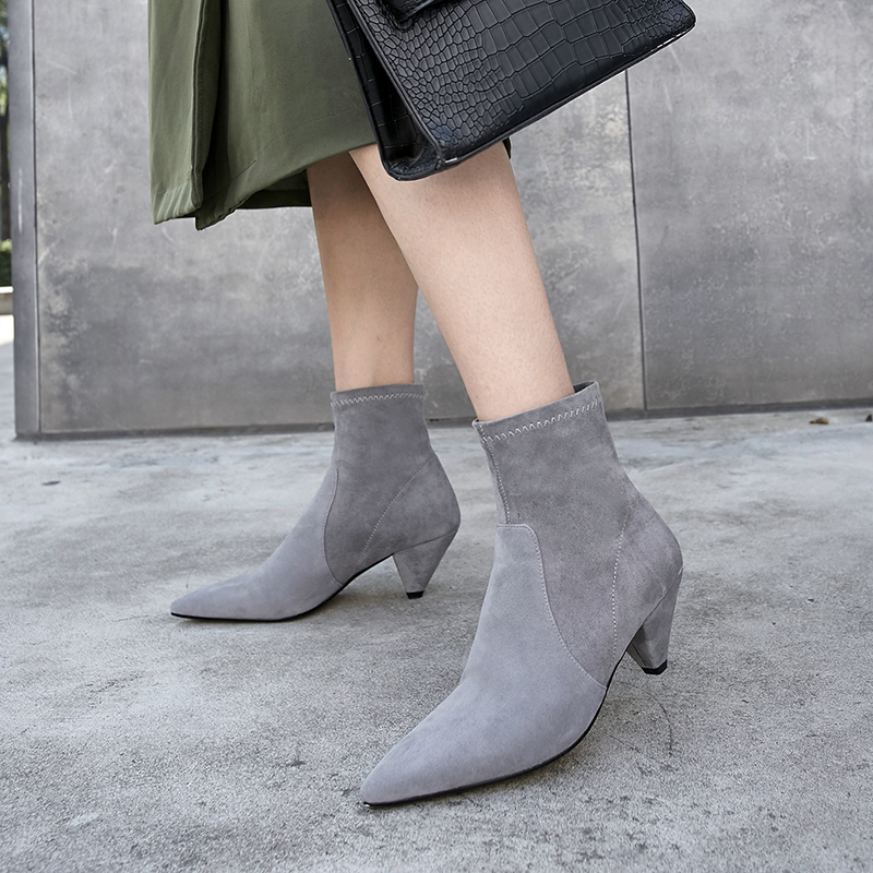 433cc393f98 Plus Size 33 43 Women S Genuine Suede Leather Slip On Autumn Ankle ...