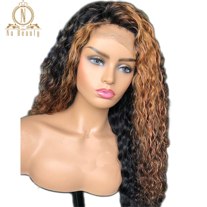 Ombre 27 Blonde Curly Human Hair Wig 360 Lace Frontal Wig Pre Plucked With Baby Hair Brazilian 13x6 Lace Front Wig Remy Hair