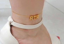 2015 free worldwide shipping, uppercase anklets, gold chains, silver anklets, any three letters custom anklets, New Year gifts