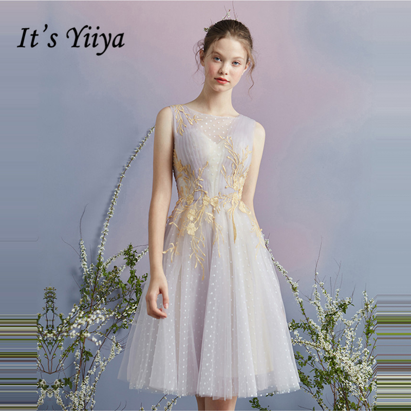 It's YiiYa   Cocktail     Dress   2018 Party Sleeveless Illusion Sexy Backless Flower Fashion Designer Elegant   Cocktail   Gowns LX1056